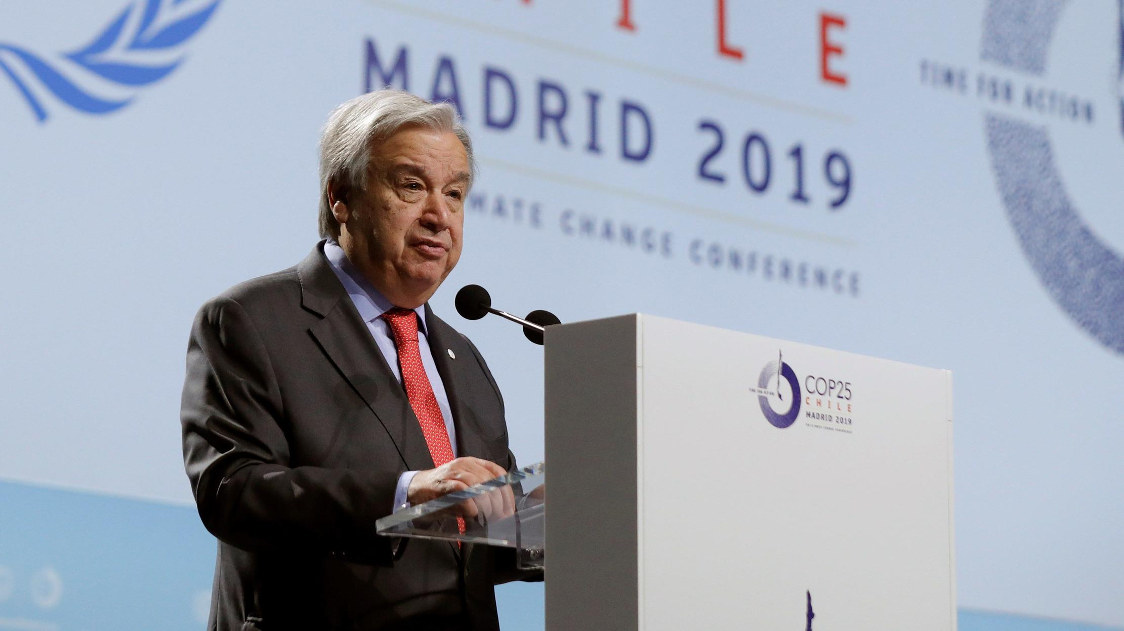 Secretary-General of the United Nations, Antonio Guterres L, delivers a speech during the opening ceremony of the COP25 held in Madrid, Spain, 02 December 2019. The UN Climate Change Conference COP25 runs from 02 to 13 December 2019 in the Spanish c