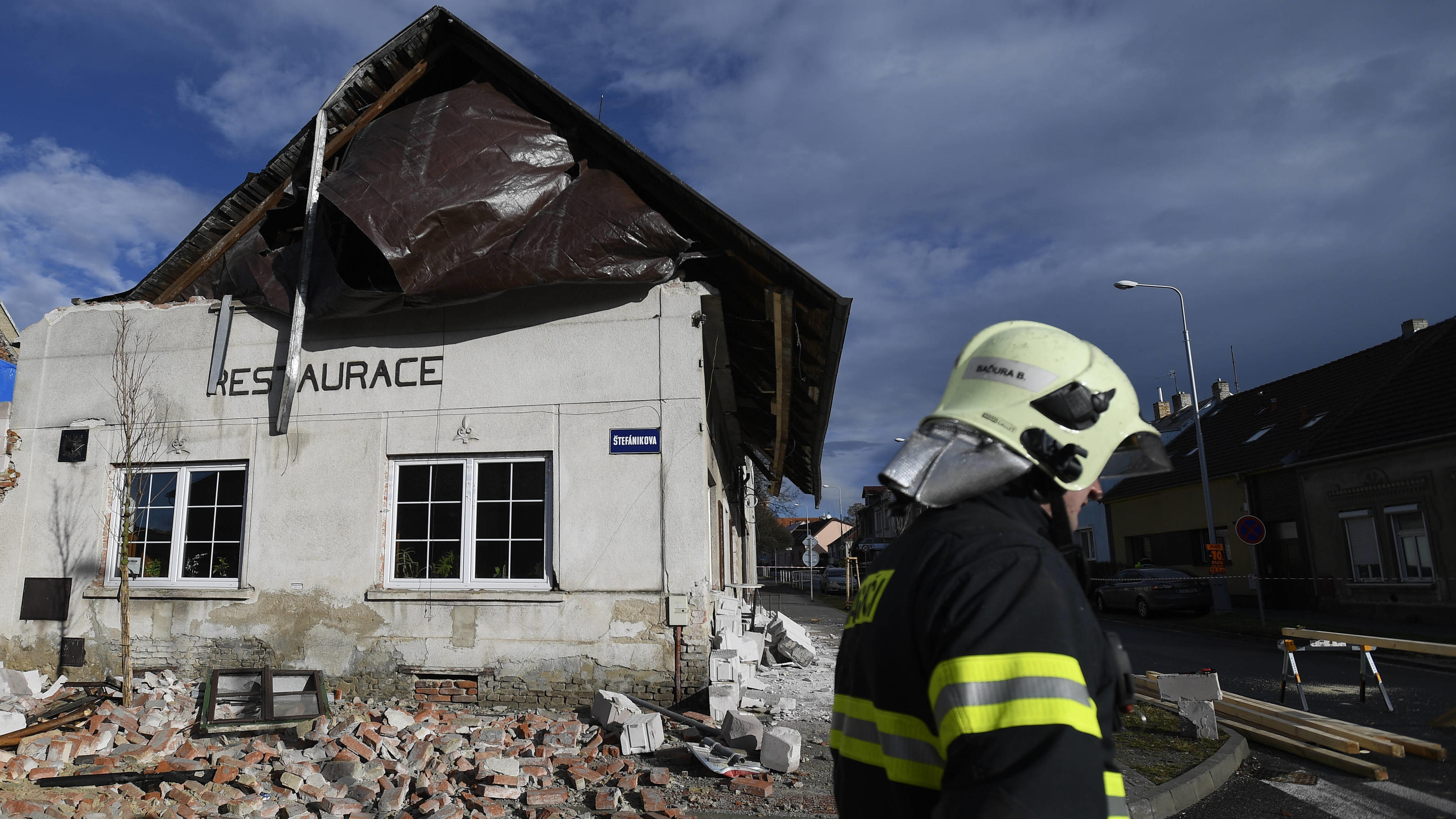 Firefighters prepare support for a shifted roof after storm Ciara Sabine is seen on Monday, February 10, 2020, in Kladno, Czech Republic. CTKxPhoto/OndrejxDeml CTKPhotoP202002100502001 dml
