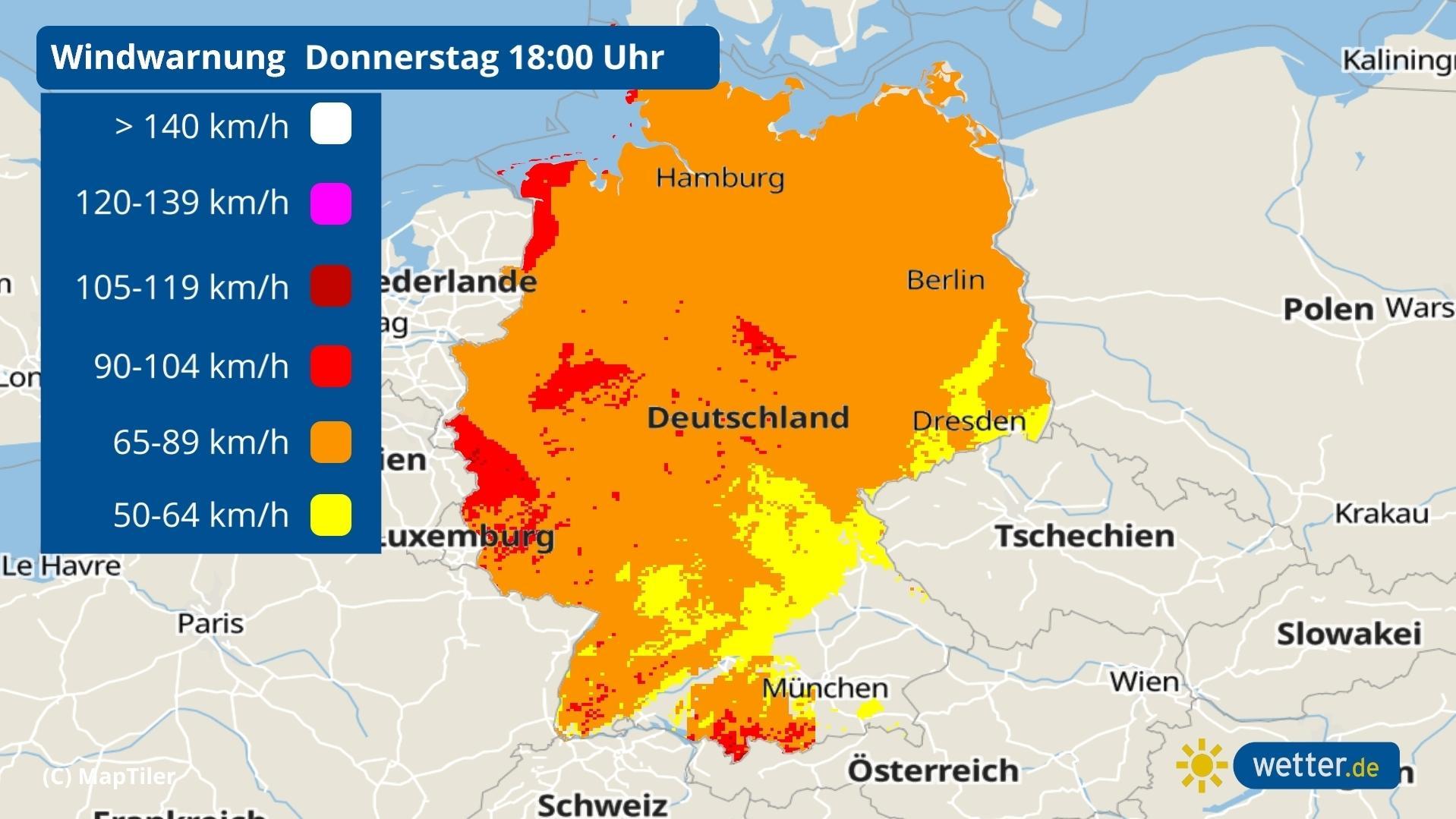 Auf dieser Karte sieht man, wo der Wind am heftigsten weht.