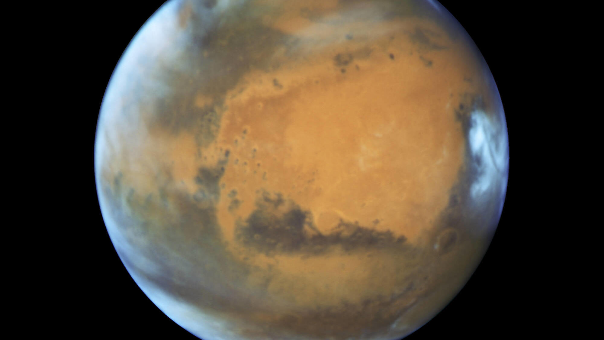 February 18, 2021 - Space - Handout file photo issued by Nasa of a Hubble Space Telscope image of Mars. Nasa s Mars Perseverance rover will land on the red planet on Thursday to begin its search for traces of life. Space - ZUMAz03_ 20210218_sha_z03_