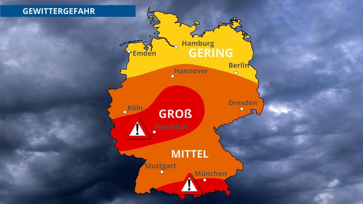 Gewittertief HENRI zieht nach Deutschland, dabei drohen vor allem über der Mitte und dem Süden unseres Landes am Nachmittag teils heftige Gewitter mit der Gefahr von Starkregen.