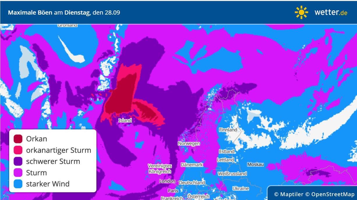 Tief XENUS über Island sorgt im Zusammenspiel mit einem starken Hoch über Nordgrönland derzeit für extreme Windgeschwindigkeiten über dem Meer zwischen Island und Grönland. Orkanböen zwischen 140 und 180, teils über 200 km/h wurden gemessen.