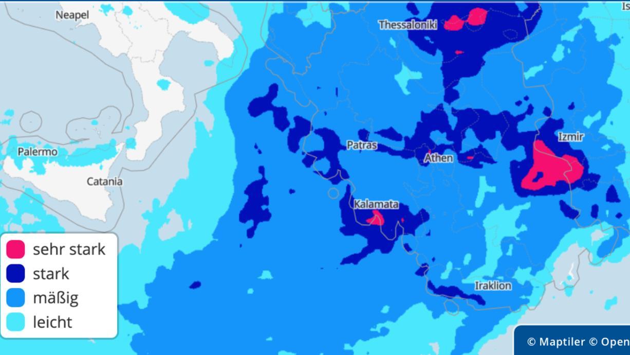 Jetzt kommt der Höhepunkt der Unwetter. Zum Abschluss der Unwetterwoche kracht es in Südosteuropa gewaltig. In der Türkei und in Griechenland sind jede Menge Regen, Gewitter, Orkanböen, Hagel und selbst Tornados möglich.