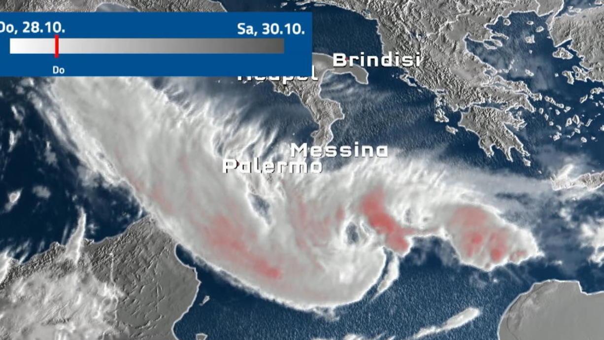 Die nächste gefährliche Wetterlage ist in vollem Gange. Denn das Mittelmeertief APOLLO hat sich zu einem Medicane entwickelt und hat wieder Süditalien, Malta, Sizilien und Catania im Focus.