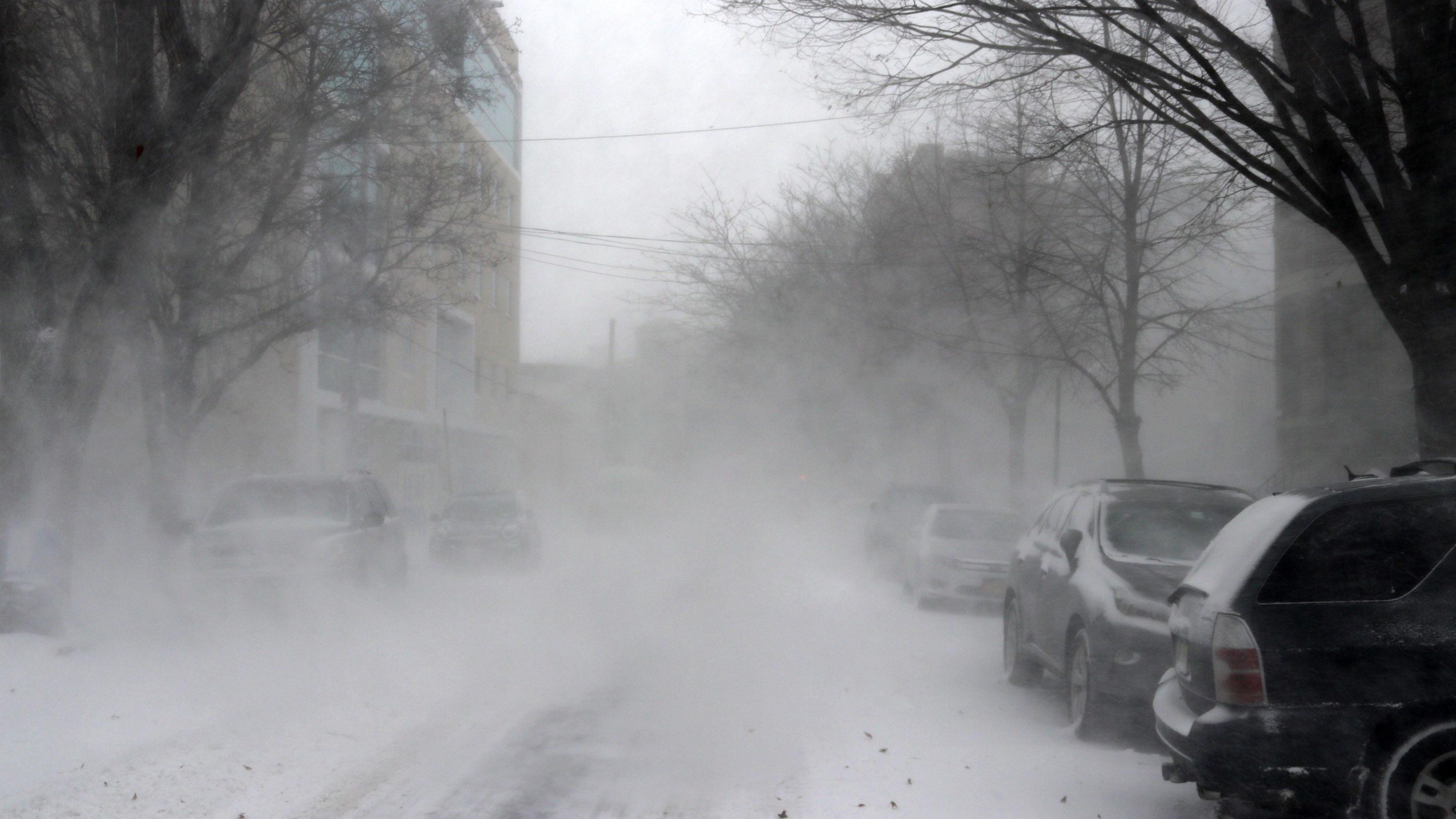 January 4, 2018 - New York City, New York, US - The first winter storm, of 2018 has descended upon New York City with white-out conditions, heavy winds and blowing snow, making daily activities difficult for many. City government declared a 'Winter W
